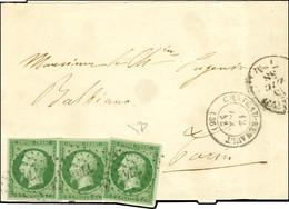 PC 774 / N° 12 Vert Foncé Sur Vert (3ex. Belles Marges) Càd T 15 CHATEAU-RENAULT (36) Sur Bande D'imprimé Pour Turin, Cà - 1853-1860 Napoleon III
