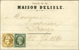 Càd J PARIS J (60) / N° 11 + 13 2 Ex Superbes Marges Sur Carton D'envoi D'imprimé De La Maison Delisle Pour Baugé. 1861. - 1853-1860 Napoleon III