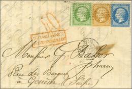 Rouleau De Pointillés / N° 12 + 13 (def) + 14 (leg Def)  Càd PARIS 60 Sur Lettre Insuffisamment Affranchie Pour La Suiss - 1853-1860 Napoleon III