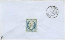 PC 2026 / N° 14 (au Verso D'une Enveloppe) Au Recto Empreinte Du PC 2026 Càd T 15 MONCLAR-D'AGENAIS 45. 1855. - TB / SUP - 1853-1860 Napoleon III