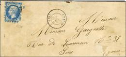 PC 843 / N° 14 Type II Avec Très Rare Pré-découpage (grandes Dents) Sur 3 Marges Càd T 15 CHEROY (83) Sur Lettre Pour Se - 1853-1860 Napoleon III