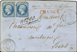 PC 843 / N° 14 Paire Piquage De Cheroy Càd T 15 CHEROY 20 DEC. 61 Sur Lettre Chargée Pour Montargis. Exceptionnelle Comb - 1853-1860 Napoleon III
