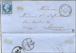 PC 4239 / N° 14 Belles Marges Càd T 15 ST JEOIRE-FAUCIGNY (89) Sur Lettre Adressée Au Tarif Frontalier Pour Carouge (Sui - 1853-1860 Napoleon III