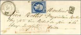 PC 3814 / N° 14 (pli) Càd T 22 MONTBENOIT (24) Sur Lettre Pour La Chaux-de-Fonds (Suisse) , Au Recto Griffe Encadrée Rou - 1853-1860 Napoleon III