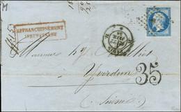 Losange H / N° 14 Càd H PARIS H Sur Lettre Insuffisamment Affranchie Pour Yverdon, Au Recto Taxe Tampon 35 Suisse. 1858. - 1853-1860 Napoleon III
