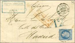 Cercle De Points / N° 14 Càd ** PARIS ** Sur Lettre Insuffisamment Affranchie Pour Madrid, Au Recto Taxe Tampon 12 Bleue - 1853-1860 Napoleon III