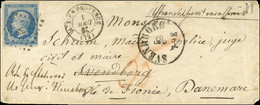 PC 33 / N° 14 Filet à Peine Effleuré Angle Inférieur Droit Càd T 15 AIX-EN-PROVENCE (12) Sur Lettre Insuffisamment Affra - 1853-1860 Napoleon III