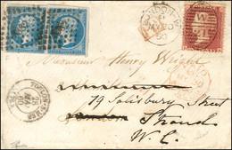 PC 3382 / N° 14 (paire) Càd T 15 TOULON-S-MER (78) Sur Lettre Pour Londres Réexpédiée Localement Avec TP One Penny Oblit - 1853-1860 Napoleon III