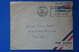Q4 NOUVELLE CALEDONIE SUPERBE LETTRE 1960 NOUMEA POUR PARIS+SEULSUR LETTRE+ AFFRANCHISSEMENT PLAISANT - Briefe U. Dokumente