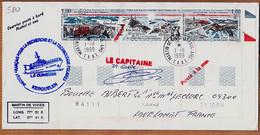 M068 ⭐ YT 223-225 Coin Daté Bord-de-Feuille TAAF LA CURIEUSE Signature Capitaine GUEDE 1999 PORT-aux-FRANCAIS KERGUELEN - Covers & Documents