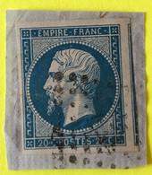 YT 14B - TB -  Belles Marges - Planché Panneau A1 Position 51 - Sur Fragment - 1853-1860 Napoleon III