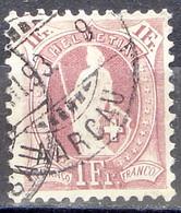 HELVETIA 1891:13 Vertikalzähne 13 Dents KZ I  Zu 71C Mi 63XC Yv 79 - 1 Fr. Lila Mit Stempel III.93 AARGAU (Zu CHF 30.00) - Gebruikt