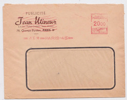 Lettre Enveloppe EMA En-Tête Publicité Jean Mineur Pathé Cinéma Champs-Elysées Paris 45 Slogan Machine Pub 26 X 1950 - EMA ( Maquina De Huellas A Franquear)
