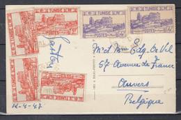 Postkaart Van Tunisie Naar Anvers (Belgie) - Covers & Documents