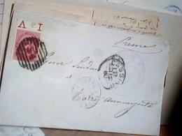 1880 PIEGO  AFFRANCATA CON 10 C CENT UMBERTO I 38 BORDO FOGLIO  NUMERALE SBARRE 54 CASSINO X TORRE ANNUNZIATA  IC7226 - Marcofilie