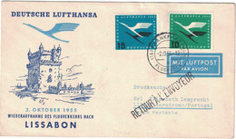 Allemagne - Frankfurt - Poste Aérienne - Lufthansa - Liaison Lisbonne - Lettre Retour Envoyeur - 2 Octobre 1955 - Used Stamps