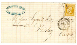 QUALITE LUXE COTE D'OR LAC 1866 N° 21 GC T22 CHASSAGNE LE HAUT LETTRE LOCALE POUR NOLAY - 1849-1876: Klassik