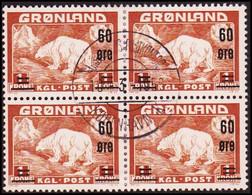 1956. Surcharge. 60 Øre/1 Kr. 4-block. (Michel 38) - JF418030 - Gebraucht