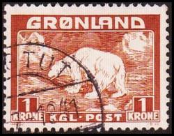 1938. Christian X And Polar Bear. 1 Kr. Light Brown. IVIGTUT 1941 (Michel 7) - JF418031 - Gebraucht