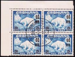 1956. Surcharge. 60/40 Øre Blue. 4-block. (Michel 37) - JF418032 - Gebraucht