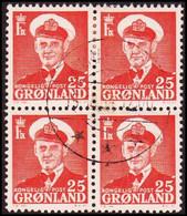 1950. Frederik IX. 25 ØRE. 4-block. DANMARKSHAVN 15.10.61.  (Michel 32) - JF418033 - Gebraucht