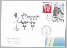 CN6 - TAAF 324 Et 328 Albatros Timide Du 21.6.2002 KERGUELEN Sur Pli MIDWINTER. - Cartas