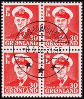 1959. Fr. IX. 30 ØRE. 4-Block. DANMARKSHAVN 8. 9. 62. (Michel 44) - JF418035 - Gebraucht