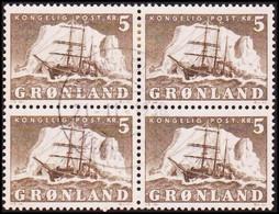 1950. Polar Ship Gustav Holm. 5 Kr. Gray. 4-Block. (Michel 41) - JF418036 - Gebraucht