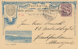 Schweiz - 1894 - 5c Postkarte + 5c Van Zürich Naar Frankfurt / Deutschland - Ganzsachen
