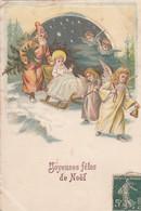 Fêtes - Noël - Père Noël - Luge - Anges - Carte Gaufrée Et Satin - Other