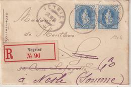 """SUISSE : 25 C . PAIRE . REC . """" VEYRIER """" . POUR LA FRANCE . 1904 . - Briefe U. Dokumente"""