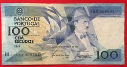 PORTUGAL 100 Escudos Chapa 9 [Fernando Pessoa] P#179 12/02/1987 TTB - Portugal