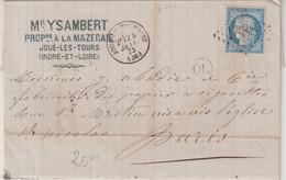 """FRANCE : GC 1888 . """" JOUE DE TOURAINE """" . (36) . ET OL . DATEE DE LA MAZERIE . 1873 . - 1849-1876: Klassik"""