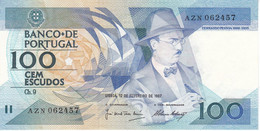 BILLETE DE PORTUGAL DE 100 ESCUDOS  DEL AÑO 1987 SERIE AZN (BANKNOTE-BANK NOTE) - Portugal