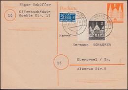 Postkarte 1 Holstentor Mit Zusatzfr. 73wg Randstück + Notopfer OFFENBACH 11.1.50 - Bizone