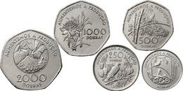 SAO TOME SAN TOME AND PRINCIPE 100, 250, 500, 1000, 2000 DOBRAS 5 COINS SET 1997 UNC - Sao Tome And Principe