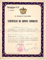 Certificatif De Bonne Conduite Regiment Infanterie Colonel Allemane Caporal Claude Gaudeau 1953 Sarrebourg - Diploma & School Reports