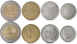 LIBYA CURRENCY SET 4 COINS 50, 100 DIRHAMS + 1/4, 1/2 DINAR BIMETALL 2014 UNC - Libya