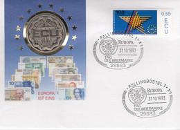 GERMANY NETHERLANDS Cover With Coin ECU 2.5 Europa 1993 #27119 - Sonstige Münzen