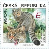 PRE-ORDER CZECH REPUBLIC EUROPA 2021 European Wildcat (Felis Silvestris) 1 Stamp MNH ** New Kočka Divoká Cats Katze Chat - Unused Stamps