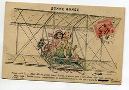 ILLUSTRATEUR CHAGNY   Aviation Petit Aviateur Ali Et Sa Petite Soeur Aicha  Bonne Année 1912 écrite Timb   D07 2021 - Chagny