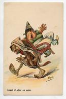 ILLUSTRATEUR HERZIG Avant D'aller En Auto Porteur Et Femme En Fauteuil 1910  D07 2021 - Andere Illustrators