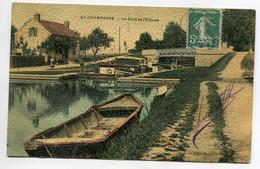 51 AY En CHAMPAGNE Pont Eclise Avec Péniche Marinier Bel Aspect Toilé Relief Couleur 1908   - D07 2021 - Ay En Champagne