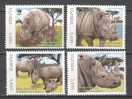 Uganda - MNH Set WHITE RHINOCEROS - Rinocerontes