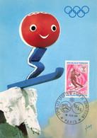 CARTE MAXIMUM #25129 75 PARIS  SPORTS HIVER COMPETITION JEUX OLYMPIQUE PERSONNAGE SHUSS 1968 - 1970-1979