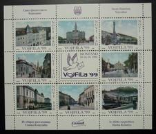 Serbia 1999 Yugoslavia Novi Sad Poster Stamps Vojfila Philately Exhibition City Tourism Coat Of Arms Vojvodina B1 - Blocks & Kleinbögen