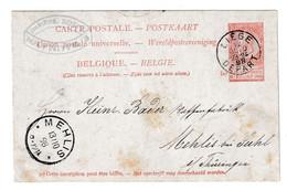 Belgium UPU Postal Stationery Postcard Posted 1898 Liege To Mehlis B210410 - Postcards [1871-09]