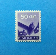 1945 ITALIA FRANCOBOLLO NUOVO STAMP NEW MNH** DEMOCRATICA 50 CENT - 1946-60: Ungebraucht