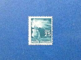 1945 ITALIA FRANCOBOLLO NUOVO ITALY STAMP NEW MNH** DEMOCRATICA 25 CENT - 1946-60: Ungebraucht