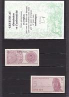 5 SEN 1964 PICK 91a NEUF SéRIE XAD 2 BILLETS + CERTIFICAT D'éMISSION ET D'AUTHENTICITé 1964 - Indonesia